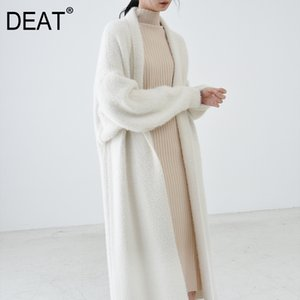 [DEAT] New Autumn Fast Delivery Trend Solid Color Full Sleeve Warm Scarf Collar Elegant Loose Cardigan Woolen Coat AT259 201103