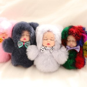 cute sleep adorable doll simulation key chain lady bag pendant doll six-color baby sleeping doll bag pendant ornaments car key ring