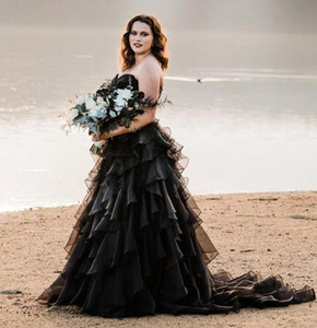 2021 New Cheap Gothic Black Wedding Dresses A Line Sweetheart Summer Beach Organza Boho Tiered Ruffles Floor Length Formal Bridal Gowns