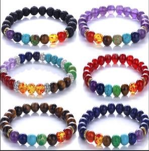 Новые 7 Чакра браслет мужчины черные лавы целебный баланс бусины Reiki Будда молитвенные натуральный камень йога браслет для женщин PS1375