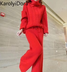 Women's suit Fashion Women Wool Knitting Suit Casual Thickening turtleneck sweater and Wide Leg Pants 2 Piece Outfits for Women 201012