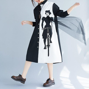 Spring 2020 New Fashion Loose Long Sleeve Print Black White Patchwork Lapel Single Breasted Loose Shirt Dress Aa250