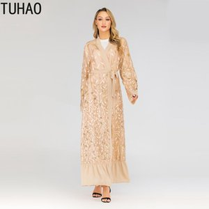 Middle Eastern Lace Cardigan Long Coat Woman Sequined Leaf Embroidery Muslim Robes Windbreaker Fashion Maxi Trench Coat T1711