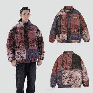 Mens Thick Paisley Floral Jackets Coats Bandana Parkas Winter Hip Hop Oversize Padded Coat Womens Loose Jacket Streetwear