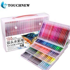TOUCHNEW 48 60 72 100 Colours Dual Tip Brush Marker Pens Felt Tip Fineliner Pens Watercolor Drawing Marker 201125