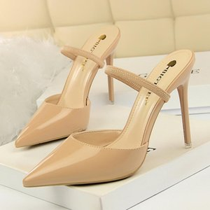 2020 New Women Sexy Sandals Square Toe Thin High Heel Slippers Fashion Women Slip on Slides Summer Beach Shoes