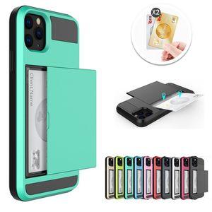 Wallet Case für iPhone 12 11 Pro XS XR PRO MAX 6 6S 7 8 PLUS TPU + PC Slide Cards Rüstungshülle