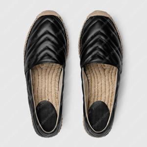 Kadınlar Takunya Ayakkabı Luxurys Tasarımcılar Düz Espadrille Ayakkabı Bayan Takozlar Sandale Ayakkabı Deri Espadrille ile Çift G P21020602L