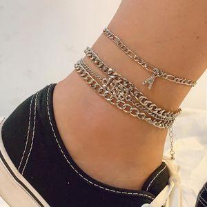 Women Anklets Chains 4Pcs Sets Year Number 1998 Rhinestone Diamonds Letter A Pendant Streetwear Punk Foot Chains Leg Bracelets Foot Jewelry