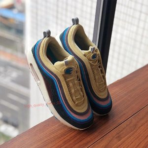 Best SW 97 Sean Wotherspoon Design Shoes 97s Vivid Sulfur Multi Yellow Blue Hybrid Running New Mens Womens Boots