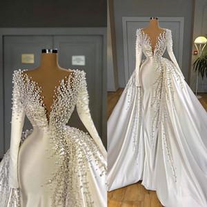 Luxo Pérolas Sereia Vestidos de Noiva com Overskirt v Neck Satin Manga Longa Vestidos De Noiva Elegante Vestido de Noiva Robes de Mariée