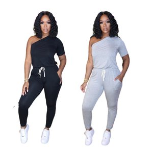 2021 Womens Casual 2 Piece Outfits Tracksuit Off Shoulder Oversize T Shirt Solid Color Top + Skinny Long Pants Jumpsuit Set Sportwear