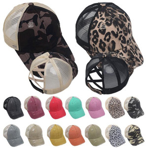 fashion Hole Ponytail Baseball Hat Washed Cotton Baseball Cap Summer Breathable Mesh Running Hat Beach Snapback Party Hats 18 colors