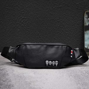 New Skull Mens Waist Bag Brand Fanny Pack Cowhide Chest Bag Men Black Belt Pack Banana Bags High Capacity Kidney Bag Shoulder