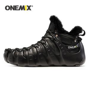 ONEMIX الكبير الخصم الرجال عادية أحذية روما تصميم جلد شتاء دافئ الكاحل أحذية الثلج أزياء في الهواء الطلق الرحلات المشي احذية 201110