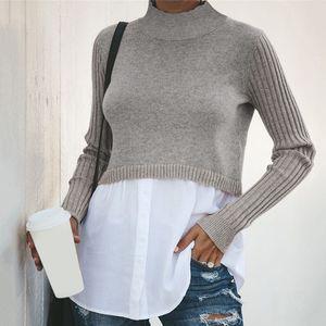 GAOKE Autumn Winter Black Knit Sweater Women Patchwork Long Sleeve Button Pullover Women Jumper 201019