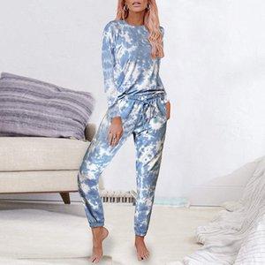 المرأة صبغ التعادل مطبوعة البيجامة كم طويل بلايز والسراويل وPijamas مجموعة Homewear نوم ملابس الخريف بالاضافة الى حجم