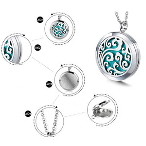 """Good Premium Aromatherapy Essential Oil Diffuser Necklace Locket Pendant, 316L Stainless Steel Jewelry with 24"""" Chain and 6 Pads 30 25 20cm"""