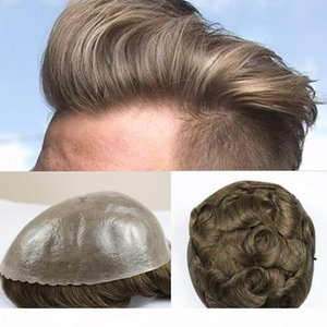 Durable Thin Skin Mens Wigs Human Hair Replacement Brown Color And Grey Color Inside PU Men Hair Toupee