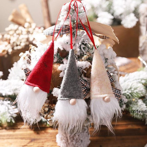 Cute Christmas Faceless Doll Small Pendant Decorations New Year Party mini Wine Bottle Cover Tree plush Ornaments Xmas home decor gifts XX