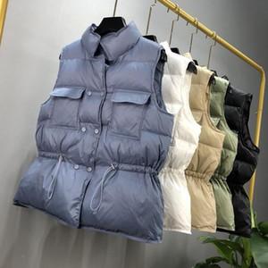 Sétutmo Hiver Duck Down Women Vest Tunique Vestes courtes Automne Gilet Casual Puffer Jacket Slim Parkas ED1104