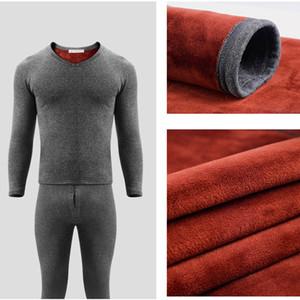 Golden Velvet Men Thermal Underwear Set Heated Long Johns Winter Inner Wear Thermo Shirts Long Underpants Thermal Bodysuit Suit 201007