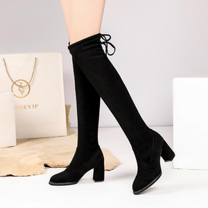 New Winter Over The Knee Boots Women Pumps Sexy Lace Up Square Heel Loog Boots Round Toe Keep Warm Knight Zapatillas Mujer