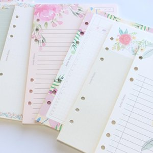 Domikee mignon dessin animé fleur design 6 trous school classeur cahiers de cahiers de remplacement papiers intérieurs Papeterie centrale, 6 sortes, A5A61