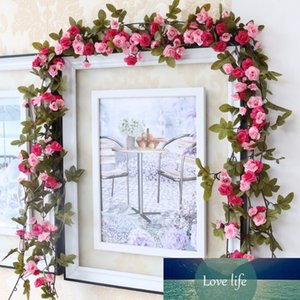 230cm  91in Silk Rose Wedding Decorations Ivy Vine Artificial Flowers Arch Decor with Green Leaves Hanging Wall Garland A0332