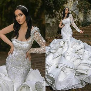 2021 Luxury Ruffles Mermaid Wedding Dresses Plus Size One Shoulder Chapel Train Gorgeous Bridal Gowns Nigerian Arabic Marriage Dress