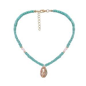 Красочные Подвеска Shell ожерелья Природные Shell Золото Cowrie Женщины Лучший друг Жемчужное ожерелье богемского ювелирные изделия Синий