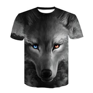 Super size hip-hop loose wolf t-shirt men's brandshort sleeve summer street Harajuku T-shirt fashion animal shirt