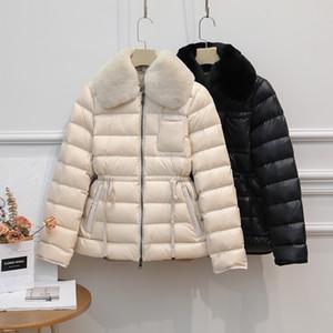 Ailegogo Winter Ultra Light 90% Duck Down Jacket Women Large Natural Rabbit's Hair White Duck Down Parka Sash Tie Up Warm Coats Y1112