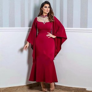 Red Formal Evening Dress 2020 Mermaid Long Sleeves Prom Party Gowns Custom Size High Neck Beads African Girls Evening Wear Gowns