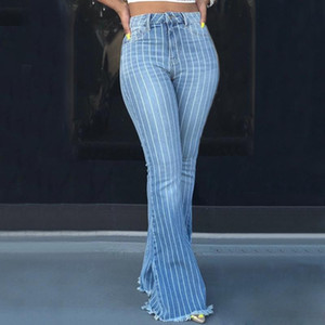 Pantaloni Moda signore casuali Skinny Stretch denim pantaloni da donna a vita alta jeans a righe jeans gamba larga a zampa