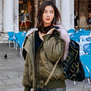 Moda marka büyük kürk kapüşonlu beyaz ördek caot sıcak ceket wq691 aşağı ceket kadın kış kalın süper kalın ördek aşağı