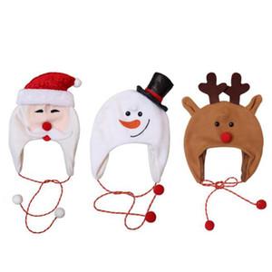 Kids Christmas Velvet Hat Kids Snowflake Warm Cap Children Xmas Snowman Warm Ski Caps Party Decor Costume Christmas Beanie Hats