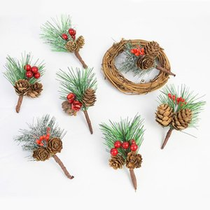 3pcs Artificial Pine Needles Pine Cones Christmas Flower Wreath Supplies Fake Plants Branches For New Year Xmas Party Home Decor