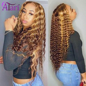 Highlight 4 30 Colored Human Hair Wigs Jerry Curly Lace Front Wigs Brazilian Curly Wig With Baby Hair Transparent Lace