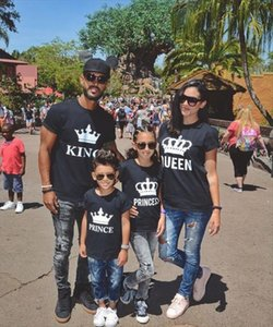 2020 New Cotton Summer Family Look Clothing KING QUEEN PRINCESS PRINCE Funny Letter Print T shirt Hipster Fashion Couple Clothes