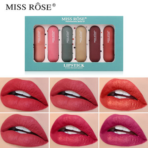 6Pcs Set MISS ROSE New Capsule Matte Lipstick Set Christmas Gift Waterproof Long Lasting Velvet Sexy Red Lip Gloss 0244