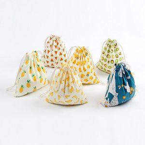 FrevisionHllchristmas Geschenk Tasche Baumwolle Leinen Leinwand Kordelzug Sack Taschen mit Weihnachtsbanane Kokosnuss Wassermelone Ananas Früchte für Geschenke DHD2725