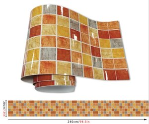 Mosaic Wall Stickers Waterproof Heat Resistance Self-adhensive Anti Oil Removable Waterproof Cover Up Square Mosaic Faint fragrance gold