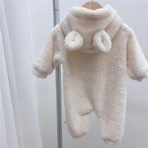 Dibeberabbit Baby Body Flanell Super Soft Winter-neugeborene Baby-Overall-starke warme Kleinkind-Jungen-Kleidung mit Kapuze Oberbekleidung 1021