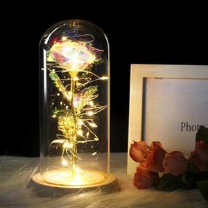 Ebedi Gül Çiçek Güzellik ve Canavar Bir Cam Dome Gül LED Lambalar Ev Dekor Düğün Noel Sevgililer Günü Jllvxm