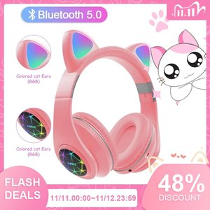 Cute Cat earphones bluetooth wireless With LED Muisc Stereo Headphone With Microphone Children Daughter Earpieces Headset Gift