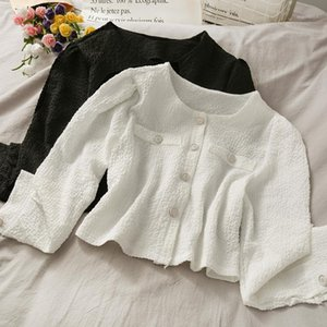 French crumpled single-breasted cardigan short small shirt women 2020 autumn round neck long-sleeved western style top1