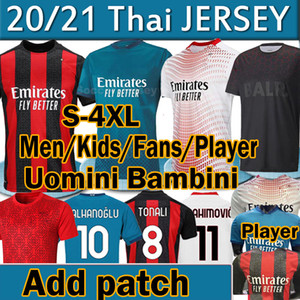 20 21 AC Jersey Milan Rossoneri Fans Jersey Jerseys Jerseys Ibrahimovic Tonali Rebic Romagnoli Çalhanoglu Football Hommes Kid Uniformi Polo 4XL