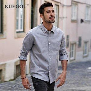 Kuegou 2020 осень 100% хлопок вышивка повседневная рубашка для мужчин негабаритных мужских модных воротник с длинным рукавом одежда 205111