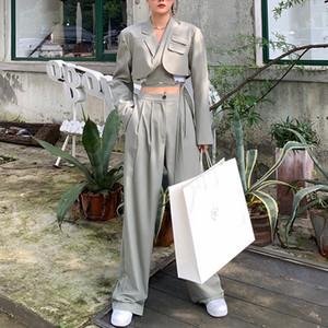 [EWQ] Autumn Long Sleeve Navel Short Black Blazer Top High-waist Straight-leg Casual All-amtch Wide-leg Pants 2-piece Set 201012